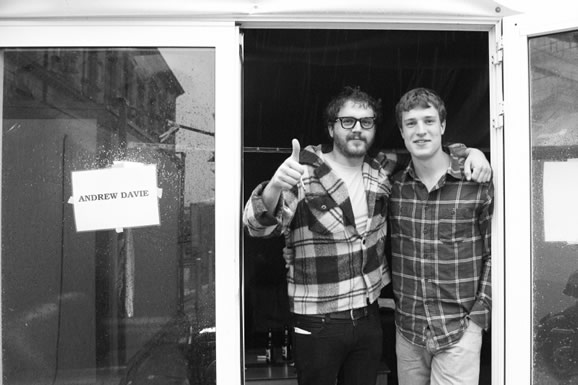 Artist in waiting: Andrew Davie with his good pal Will! Top blokes!